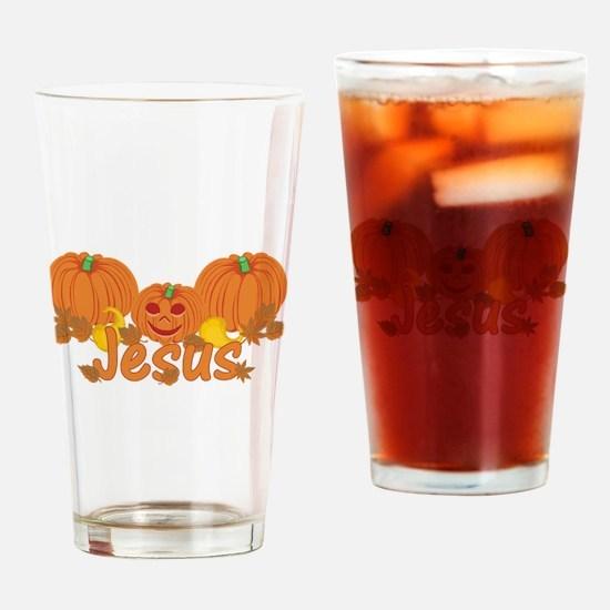 Halloween Pumpkin Jesus Drinking Glass