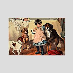 GIRL & DOGS Rectangle Magnet