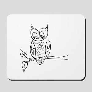 Little Hoot - Owl on Branch Mousepad
