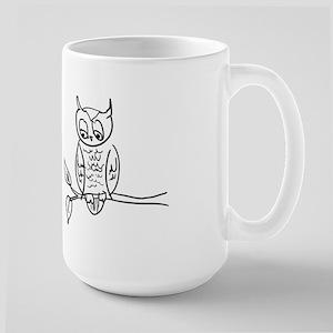 Little Hoot - Owl on Branch Large Mug