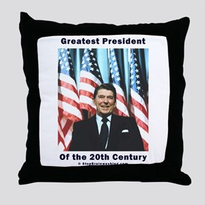 Ronald Reagan - Greatest w Flags Throw Pillow