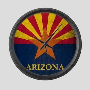 Grunge Arizona Flag Large Wall Clock