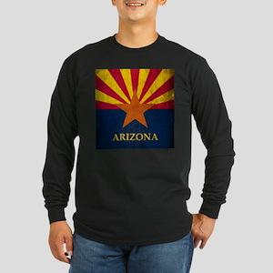 Grunge Arizona Flag Long Sleeve Dark T-Shirt