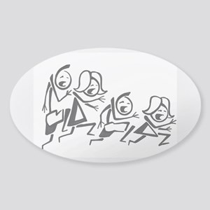 Running stick family Sticker (Oval)