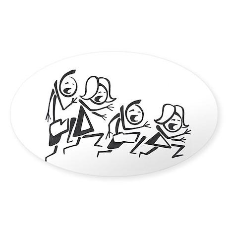 Running stick family Sticker (Oval)