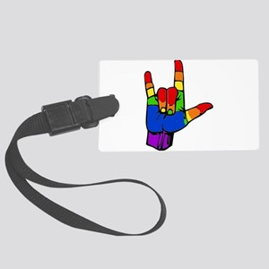 ily rainbow Large Luggage Tag