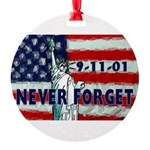 911 Never Forget Round Ornament