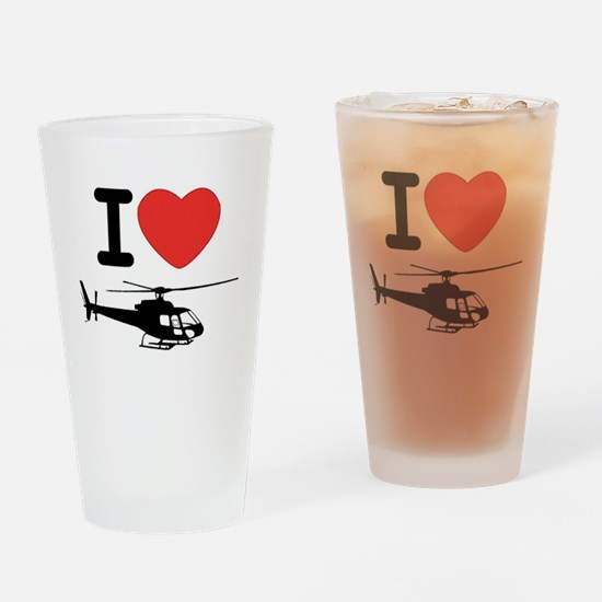 I Heart Helicopter Drinking Glass