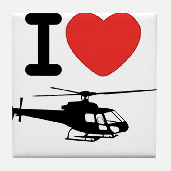 I Heart Helicopter Tile Coaster