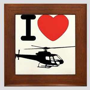 I Heart Helicopter Framed Tile
