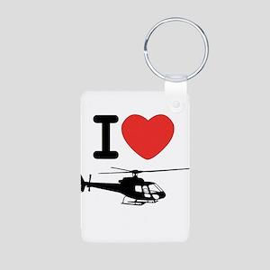 I Heart Helicopter Aluminum Photo Keychain