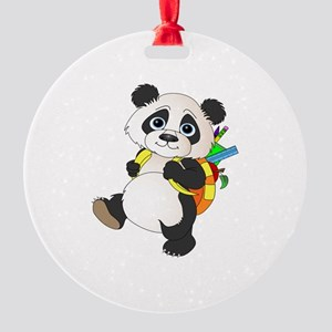 Panda bear with backpack Round Ornament