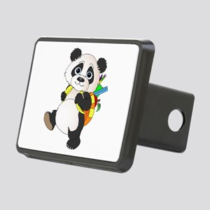 Panda bear with backpack Rectangular Hitch Cover