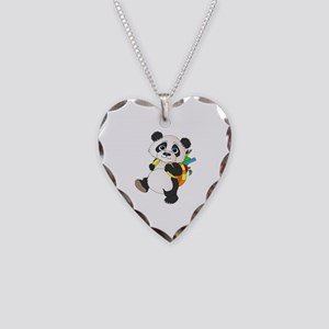 Panda bear with backpack Necklace Heart Charm