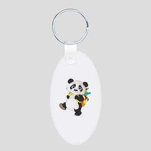 Panda bear with backpack Aluminum Oval Keychain