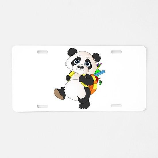 Panda bear with backpack Aluminum License Plate