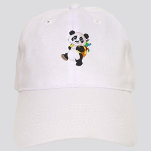 Panda bear with backpack Cap