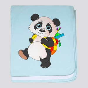 Panda bear with backpack baby blanket