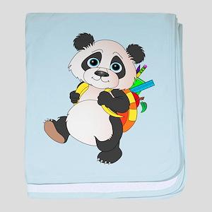 Panda bear with backpack baby blanket