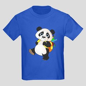 Panda bear with backpack Kids Dark T-Shirt