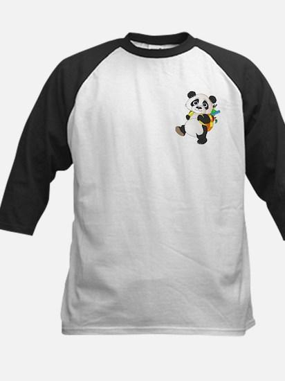 Panda bear with backpack Kids Baseball Jersey