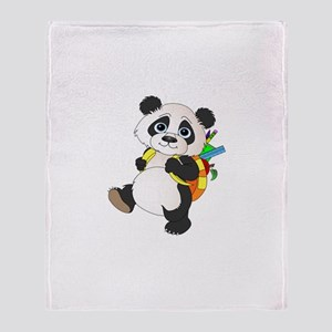 Panda bear with backpack Throw Blanket