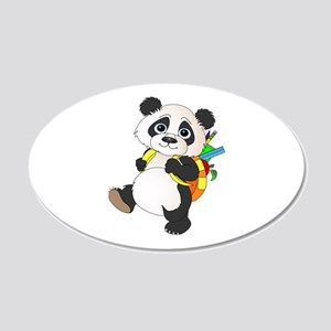 Panda bear with backpack 20x12 Oval Wall Decal