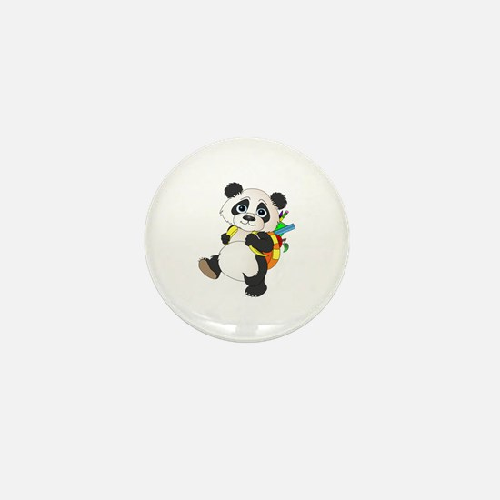 Panda bear with backpack Mini Button