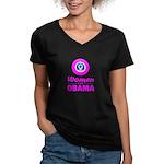 Women for Obama Pink Women's V-Neck Dark T-Shirt