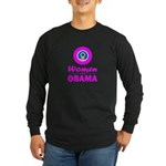 Women for Obama Pink Long Sleeve Dark T-Shirt
