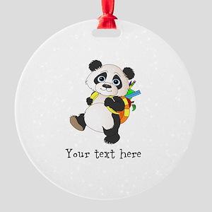 Personalize It - Panda Bear backpack Round Ornamen