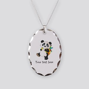 Personalize It - Panda Bear backpack Necklace Oval