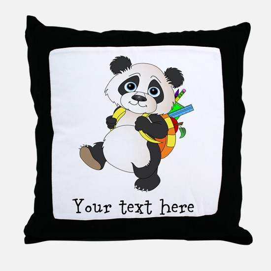Personalize It - Panda Bear backpack Throw Pillow