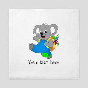 Personalize it - Koala Bear with backpack Queen Du