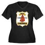 USS KAMEHAME Women's Plus Size V-Neck Dark T-Shirt