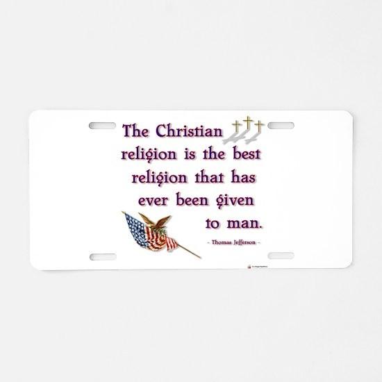 Best Religion.png Aluminum License Plate