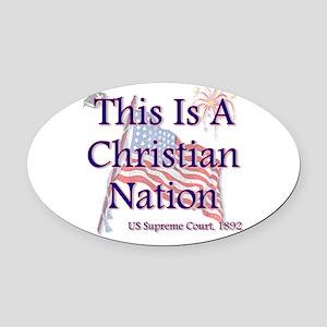 Christian Nation Oval Car Magnet