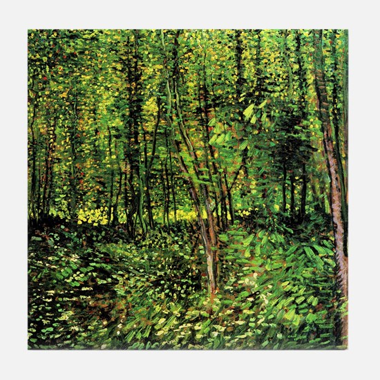 Van Gogh Trees And Undergrowth Tile Coaster