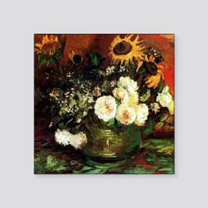 "Van Gogh Roses And Sunflowers Square Sticker 3"" x"