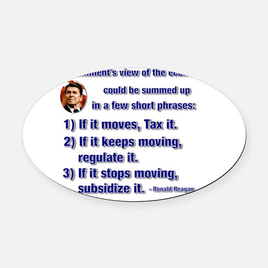 reagan govt view of economy.png Oval Car Magnet