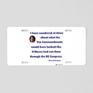 reagan ten commandments Aluminum License Plate