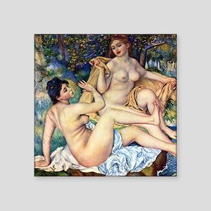 "Renoir The Large Bathers Square Sticker 3"" x 3"""