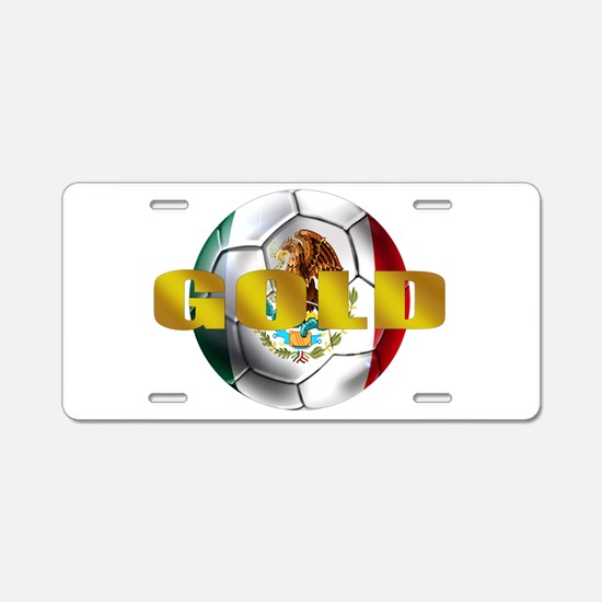 Mexico Soccer Gold Aluminum License Plate