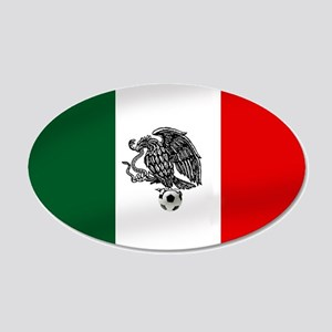 Mexican Soccer Flag 20x12 Oval Wall Decal