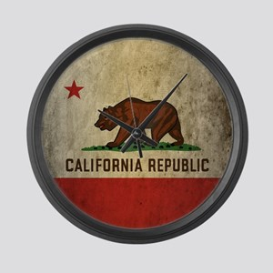Grunge California Flag Large Wall Clock