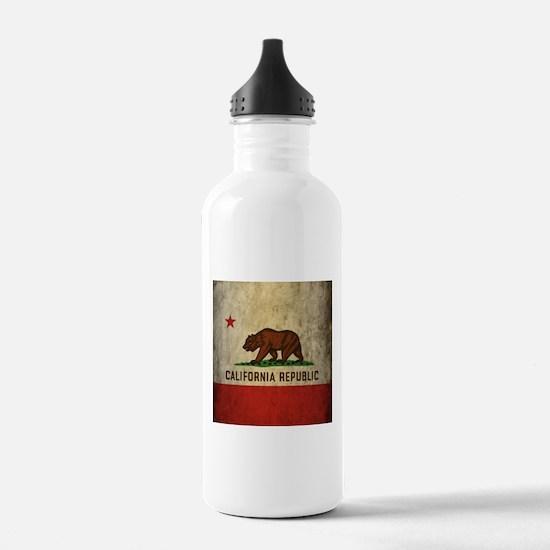 Grunge California Flag Water Bottle
