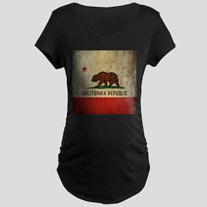 Grunge California Flag Maternity Dark T-Shirt