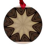 Chocolate Starburst Maple Round Ornament