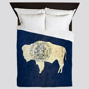 Grunge Wyoming Flag Queen Duvet