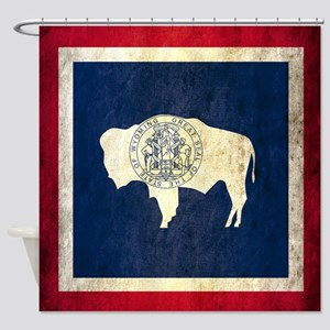 Grunge Wyoming Flag Shower Curtain